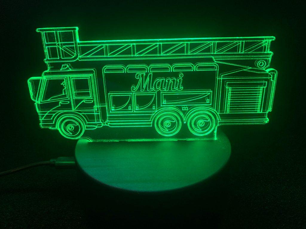 Feuerwehr Auto mit Namen als Nachtlicht